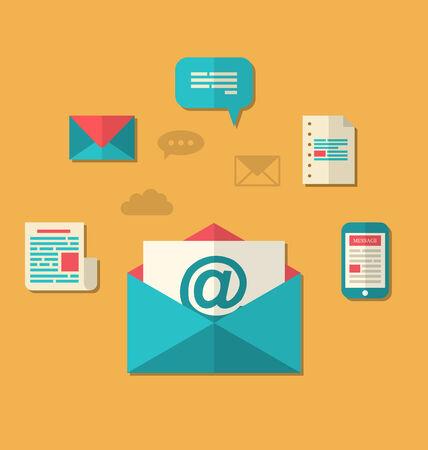 correo electronico: Ilustraci�n concepto de marketing por correo electr�nico - bolet�n y suscripci�n, iconos de moda planas - vector