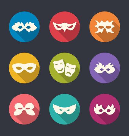 antifaz carnaval: Ilustraci�n conjunto iconos planos de Carnaval o las m�scaras de teatro de sombras largas - vector