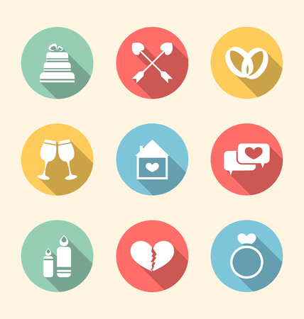 Illustration trendy flat icons for Valentines Day, style with long shadows - vector illustration