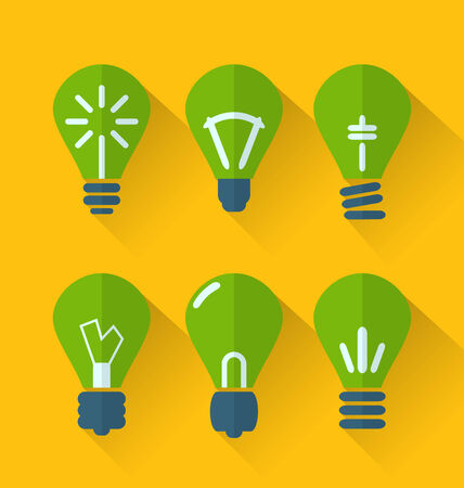 Illustration icon set process of generating ideas to solve problems, birth of the brilliant ideas - vector
