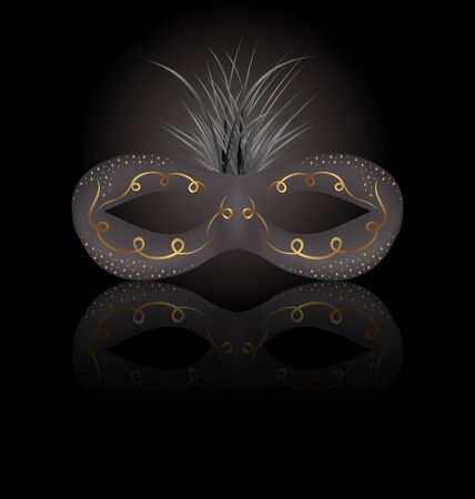 carnaval: Illustration theater or Carnival mask with reflection on black background - vector