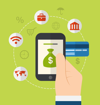 Illustration concepts of online payment methods. Icons for online payment gateway, electronic funds, flat style design - vector Foto de archivo