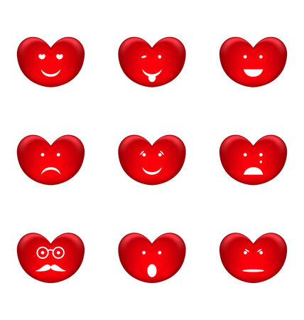 spirited: Illustration set of smiles of heart shape with many emotions, isolated on white background - vector Stock Photo