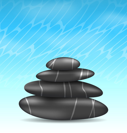 stacked stones: Illustration nature background with pyramid zen spa stones - vector