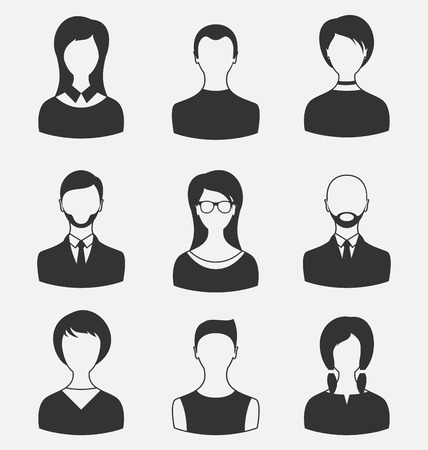 employe: Illustration set business people, different male and female user avatars isolated on white background - vector