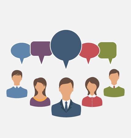 teammates: Illustration concept of leadership, dialog speech bubbles - vector