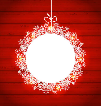 weihnachten: Illustration Christmas round frame made in snowflakes on red wooden background, copy space for your text - vector