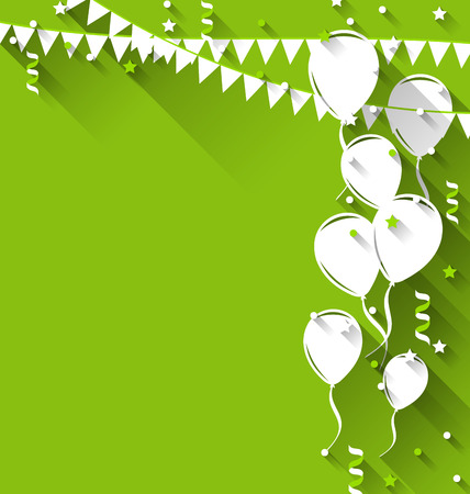 Illustration happy birthday background with balloons and hanging pennants, trendy flat style - vector