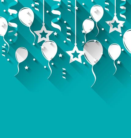 Illustratie verjaardag achtergrond met ballonnen, sterren en confetti, trendy vlakke stijl - vector