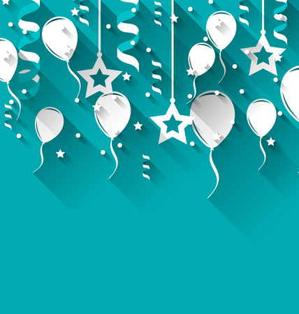 party streamers: Illustration birthday background with balloons, stars and confetti, trendy flat style - vector