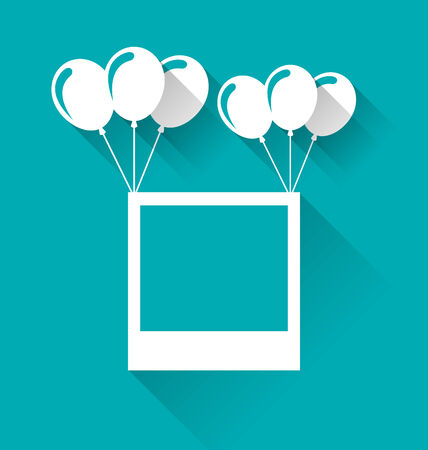 birthday backdrop: Illustration blank photo frame with balloons for your holiday - vector