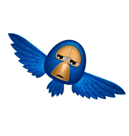 beholder: Angry beholder blue bird soars and observe looks down from heaven and maybe give you happiness - vector