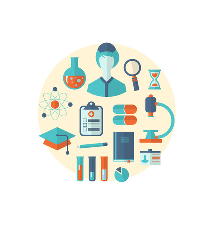 Illustration flat icon of objects chemical and medical research - vector Stock Photo