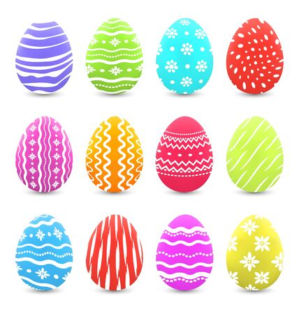pasch: Illustration Easter many multicolored ornate eggs with shadows isolated on white background - vector