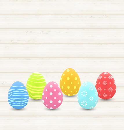 Illustration wooden background with colorful traditional eggs for Easter - vector Stock Photo