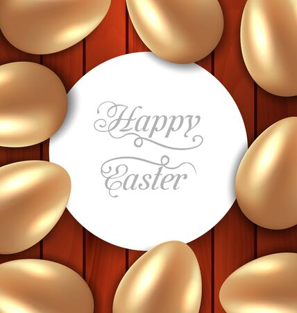 eastertide: Illustration congratulation card with Easter golden glossy eggs on wooden background - vector