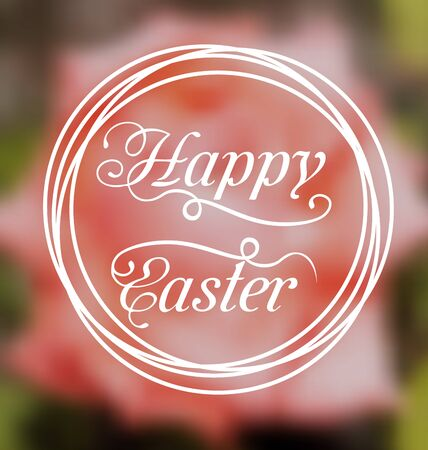 headline: Illustration Happy Easter calligraphic headline, blurred background - vector Stock Photo