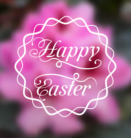 pascua: Illustration Happy Easter calligraphic headline, blurred background - vector Stock Photo
