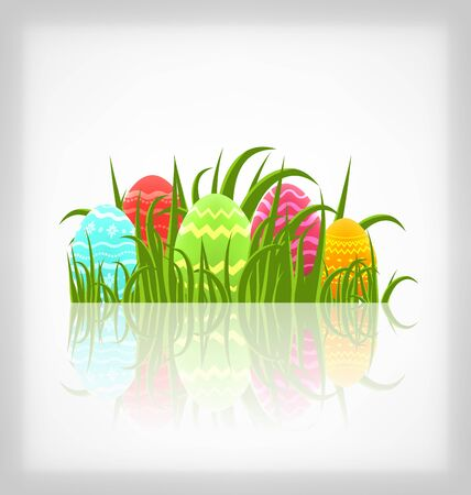 ostern: Illustration Easter natural background with traditional colorful eggs in grass meadow - vector Stock Photo