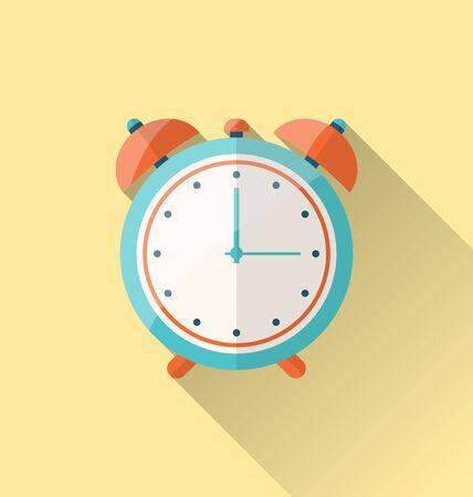 alarmclock: Illustration flat icon of retro alarm-clock with long shadow - vector