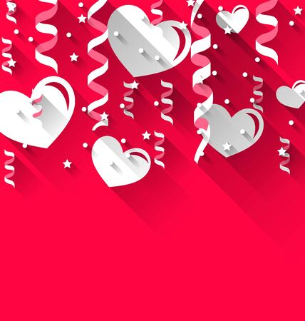 streamer: Illustration background for Valentines Day with paper hearts, streamer, stars, trendy flat style - vector