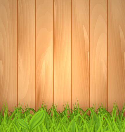 Illustration freshness spring green grass and wooden wall - vector illustration