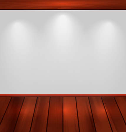 woodgrain: Illustration empty wall with light and wooden floor - vector
