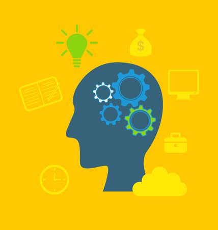 derivation: Illustration concepts of intelligence, intellectual work, productivity, creativity, efficiency - vector Stock Photo