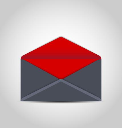 Illustration open envelope on grey background - vector illustration