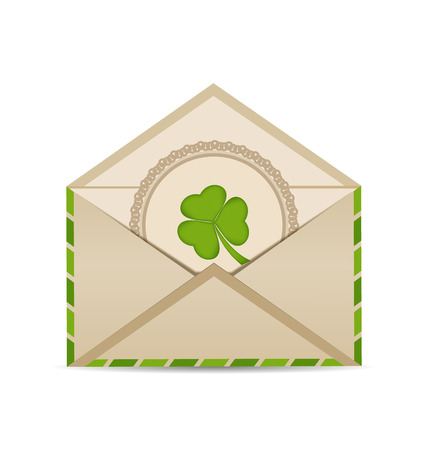 Illustration open vintage envelope with clover isolated on white background for St. Patricks Day - vector Stock Photo