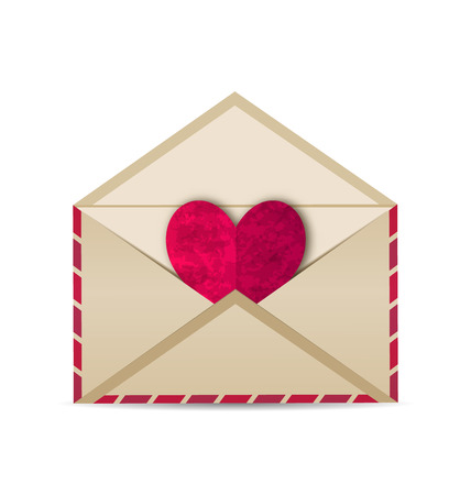 grungy email: Illustration open vintage envelope with paper grunge heart - vector