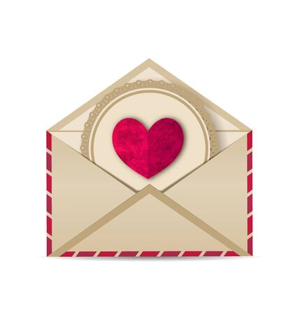 grungy email: Illustration paper grunge heart in open old envelope - vector Stock Photo