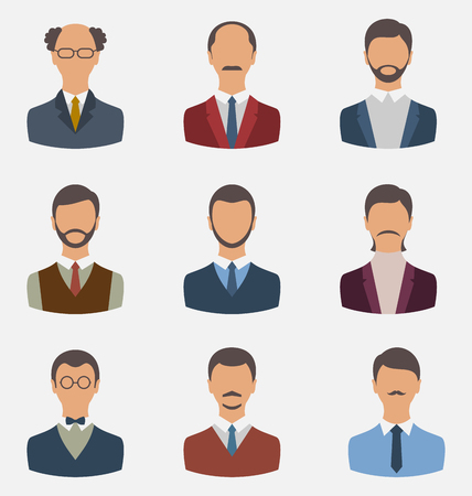 employe: Illustration set business people, front portrait of males isolated on white background - vector Stock Photo