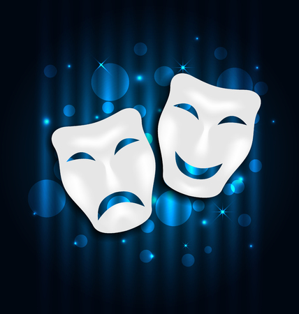 face  illustration: Illustration comedy and tragedy theatre masks on blue shimmering  background - vector