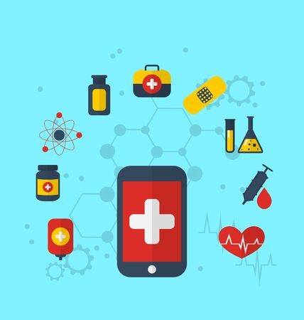 Illustration smart phone with medical icons for web design, modern flat style - vector illustration