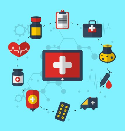 Illustration tablet pc with medical icons for web design, modern flat style - vector illustration