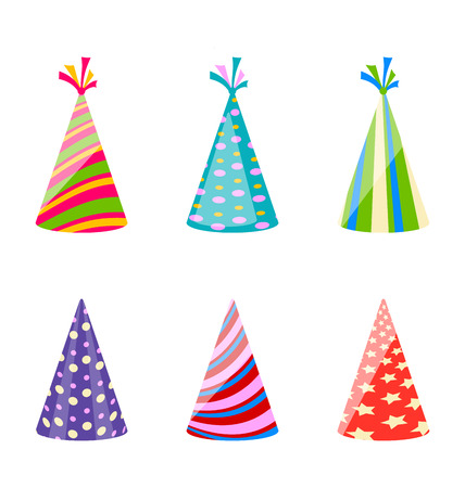 dressing up: Illustration set of party colorful hats isolated on white background - vector