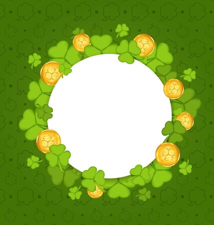 17th march: Illustration celebration card with shamrocks and golden coins for St. Patricks Day - vector Stock Photo