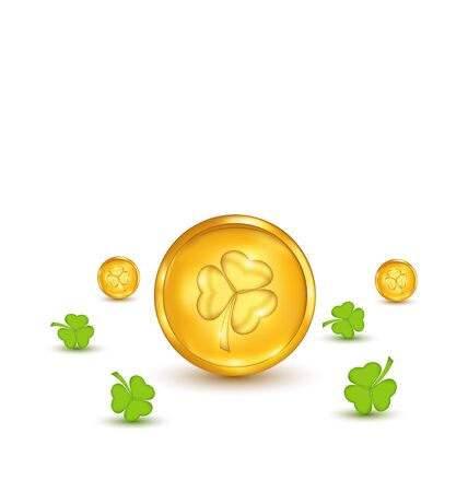Illustration clovers and coins with shadows on white background for St. Patricks Day - vector illustration