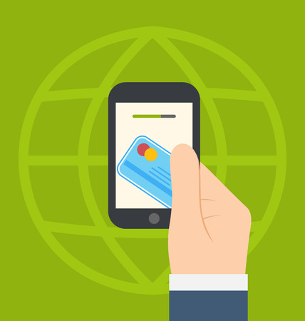 handing: Illustrations concept of contactless credit card payment via modern communication technology, flat modern design style - vector