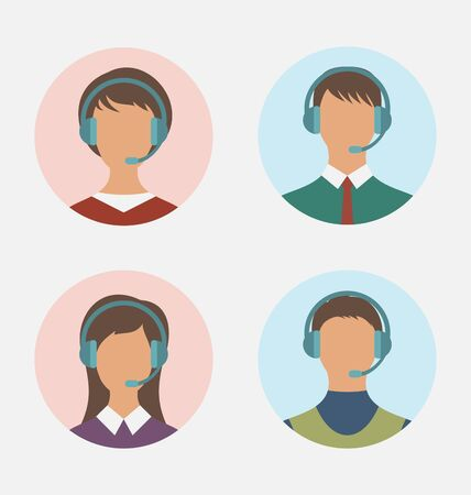 featureless: Illustration icons of call center operator  with  man and woman are featureless wearing headsets, in round web buttons - vector Stock Photo
