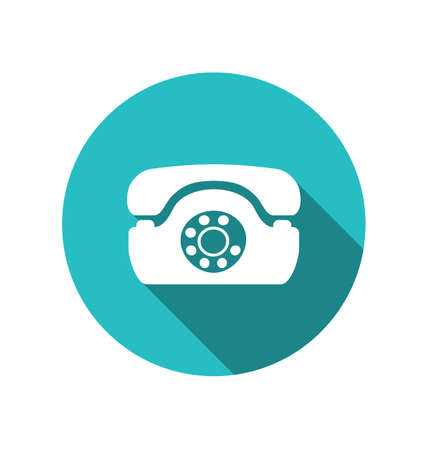 Illustration web icon of retro telephone, trendy flat minimal style - vector illustration
