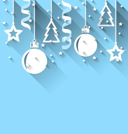 streamer: Illustration Christmas background with fir, balls, stars, streamer, trendy flat style - vector Stock Photo