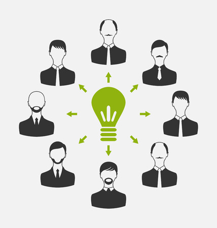 to gather: Illustration group of business people gather together, process of generating idea - vector Stock Photo