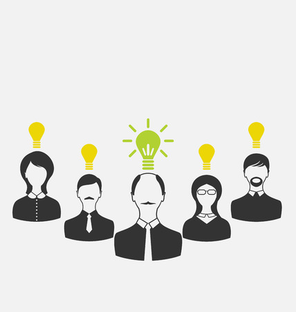 Illustration concept of leadership and new idea. Business people with light bulbs as a concept of new ideas - vector illustration