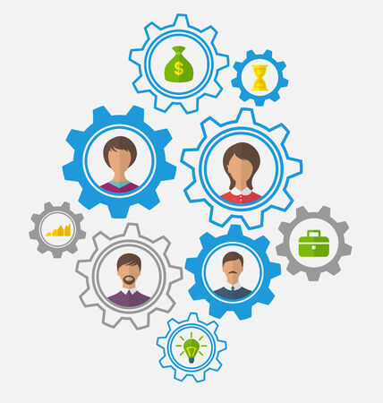 teleconference: Illustrations idea of teamwork and success, business people enclosed in cogwheels - vector