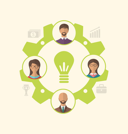 enclosed: Illustration idea of teamwork and success, business people enclosed in cogwheel - vector