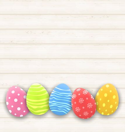 pascua: Illustration Easter colorful eggs on wooden texture - vector