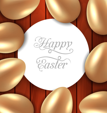 Illustration congratulation card with Easter golden glossy eggs on wooden background - vector