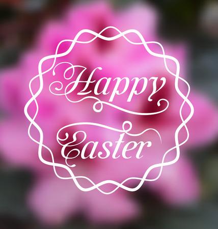 pascua: Illustration Happy Easter calligraphic headline, blurred background - vector Illustration
